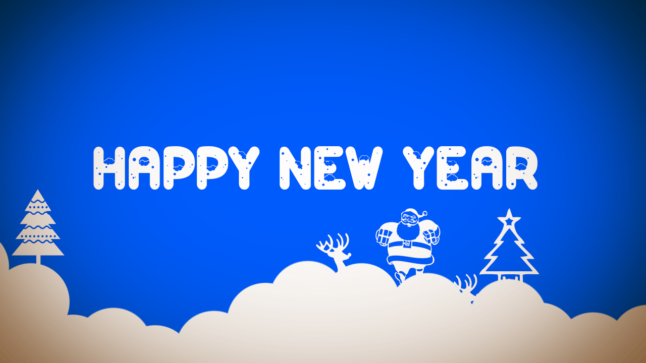 Happy new year blue Santa winter - Wallect