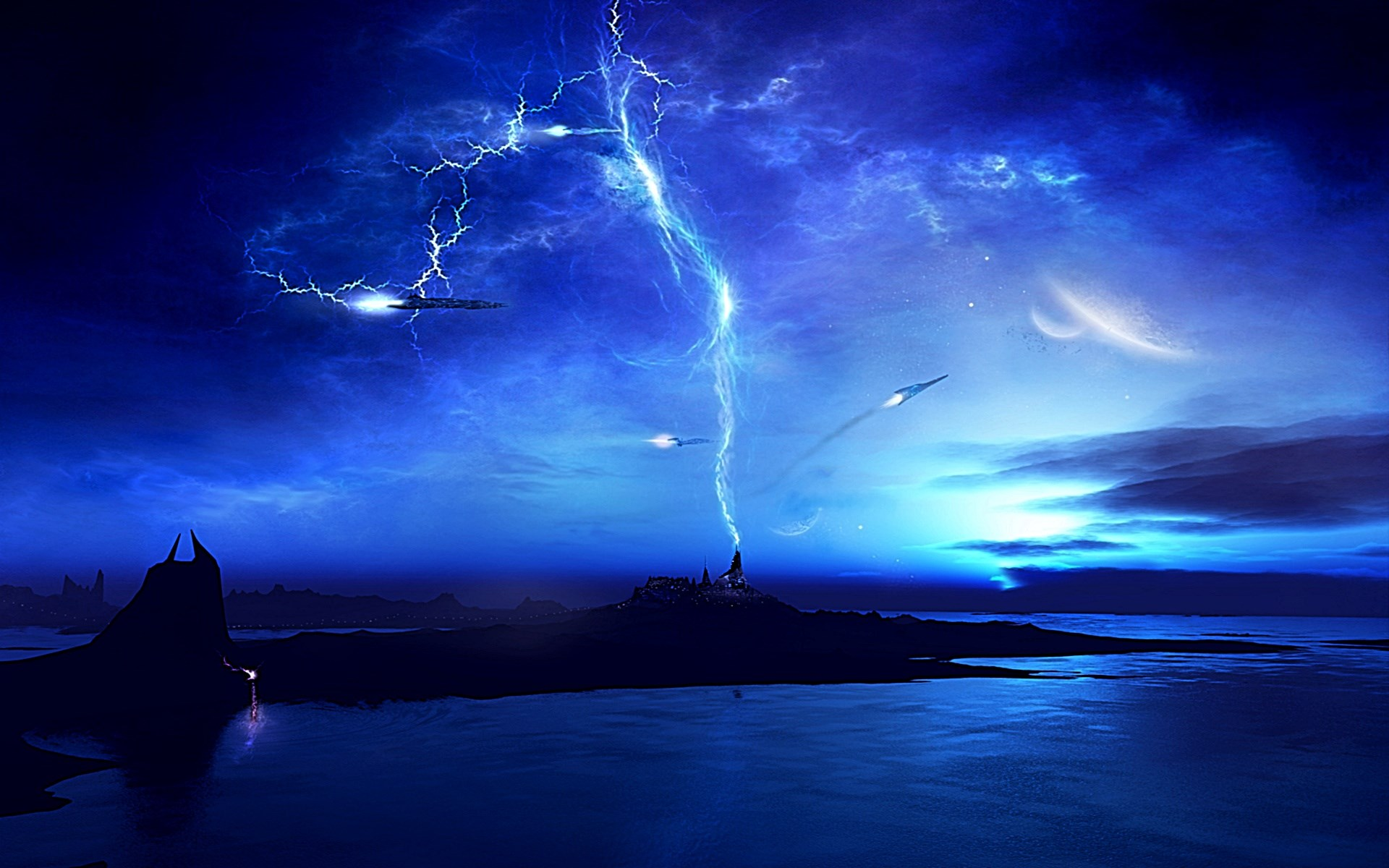 Lightning sky future | Wallpaper