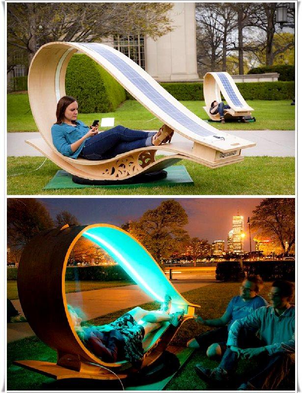 Güneş enerjili ışıklı bahçe sandalyesi
