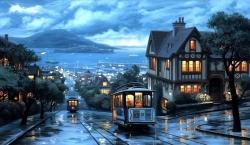 Tram way city rain